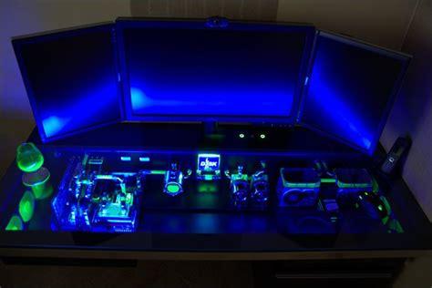 Gaming Desk Pc Magnificent Blue Ligting Gaming Computer Desktop Setup Of Gamers Only Pinterest