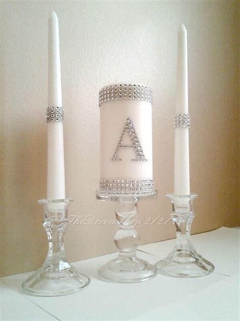 wedding unity candle unity candle unity wedding candle set silver bling