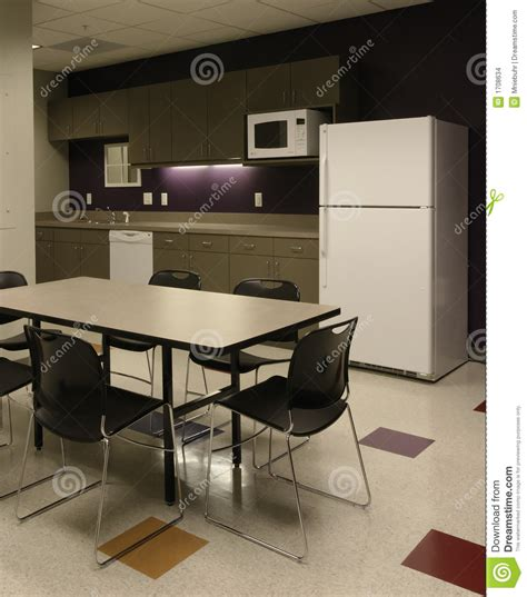 office room cafe employee kitchen space stock