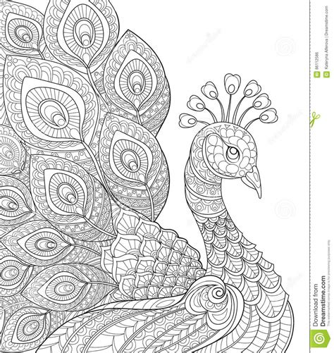 anti stress colouring book doodle and peacock antistress coloring page black and white
