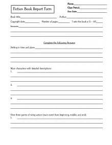 fourth grade book report template book report form grade 2