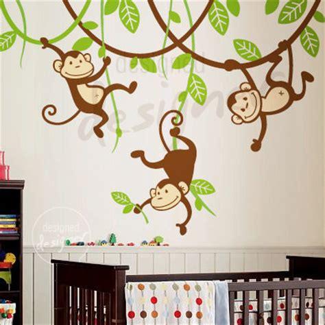 monkey nursery wall stickers 6 monkeys on vines nursery wall decals removable wall stickers room accessories