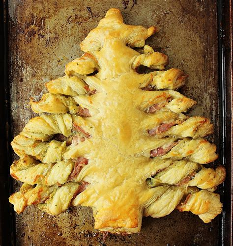 clara s christmas tree puff pastry with pesto prosciutto