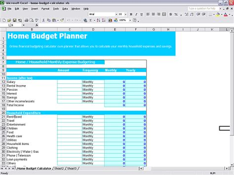 how to make a home budget on excel
