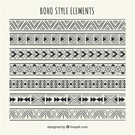 Geometric ethnic borders set Vector   Free Download