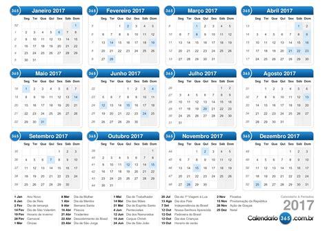 Calendã 2017 Feriados Para Imprimir Calend 225 2017