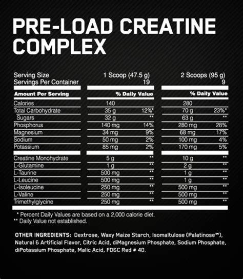creatine nutrition facts the product for loading creatine school of