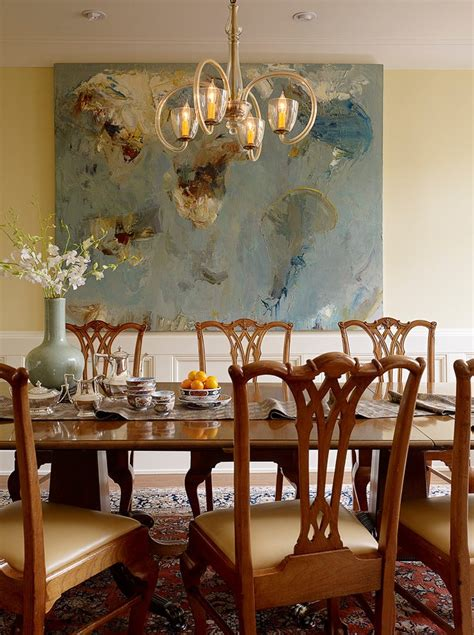 abstract art enhances traditional dining room abstract textured acrylic painting dining room