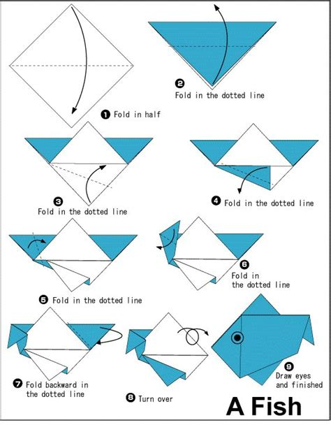 Step By Step Origami Animals - let s try simple steps to make origami fish kidscrafts