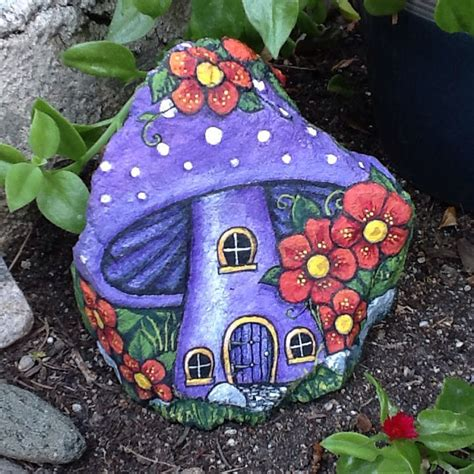 Painting Rocks For Garden Purple House Pretty Painted Rock Home For Or Gnome For The Garden