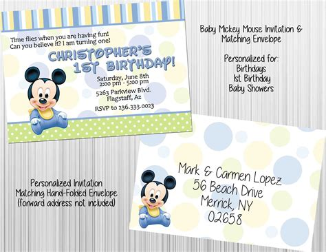 Baby Mickey Mouse Baby Shower Invitations by Baby Mickey Mouse Invitation Set Envelopes Birthday Baby Shower Personalized Invitations