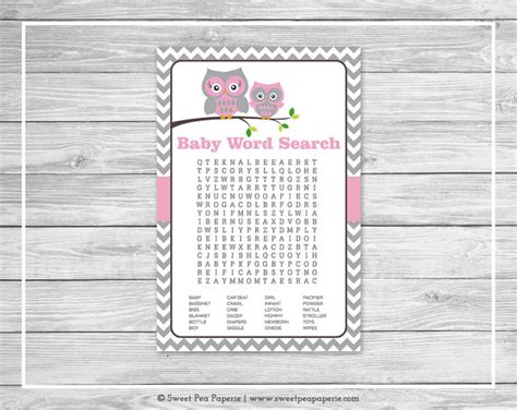 printable owl word search owl baby shower baby word search game printable baby