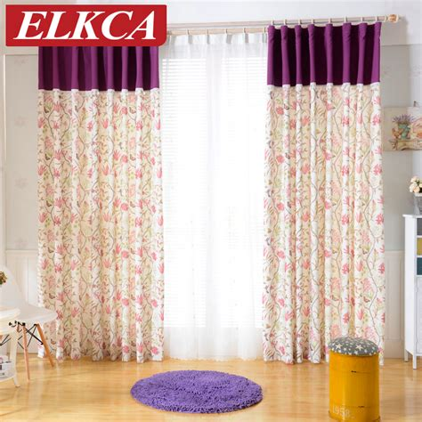 purple flower curtains high quality purple flower printed linen curtains for