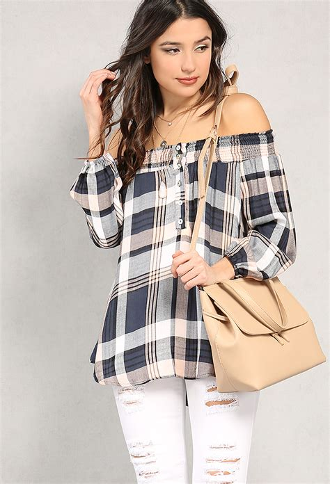 Flannel Plaid The Shoulder Top smocked plaid flannel the shoulder top shop tops at