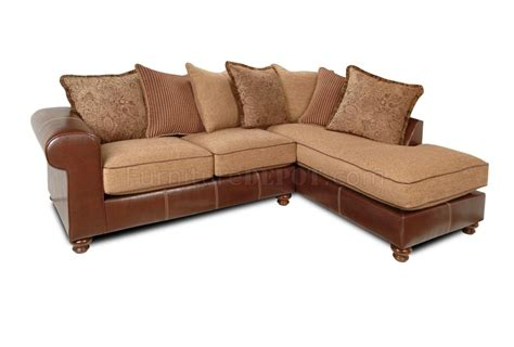 mocha fabric brown vinyl two tone modern sectional sofa