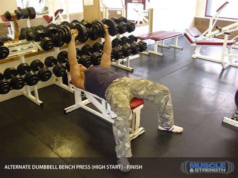 high school bench press average alternate dumbbell bench press high start video exercise