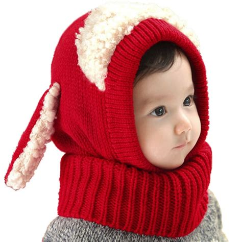 winter warm baby boys knitted hat scarf