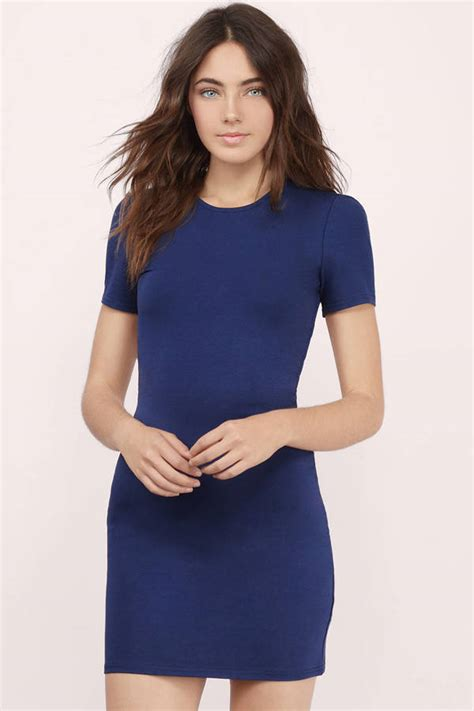 Sexy Navy Dress   Open Back Dress   Cross Over Dress   Bodycon Dress   Tobi