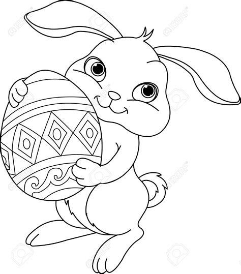 clipart da colorare easter bunny black clipart