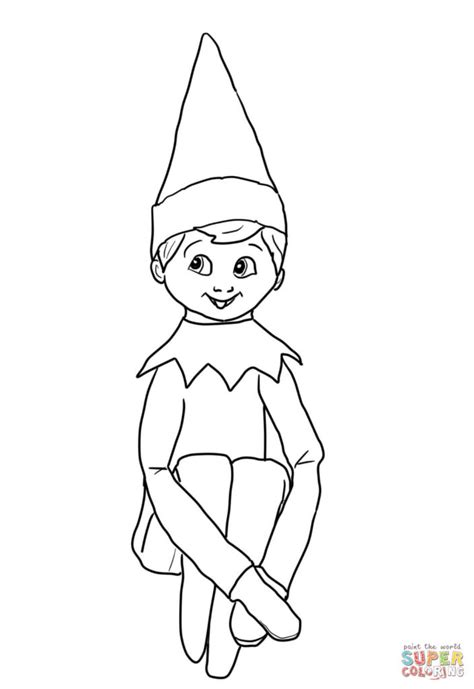 On The Shelf Coloring Pages For Kids Christmas Elf  sketch template