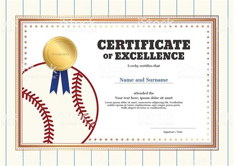baseball certificates templates free certificate of excellence template in sport theme for