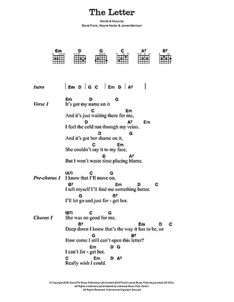 Letter In The Sand Lyrics The Letter Sheet By Morrison Lyrics Chords 45515