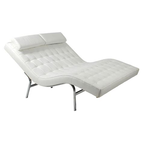 White Leather Chaise Lounge Oversized White Leather Tufted Chaise Lounge For Two With Pillowed Neck Decofurnish