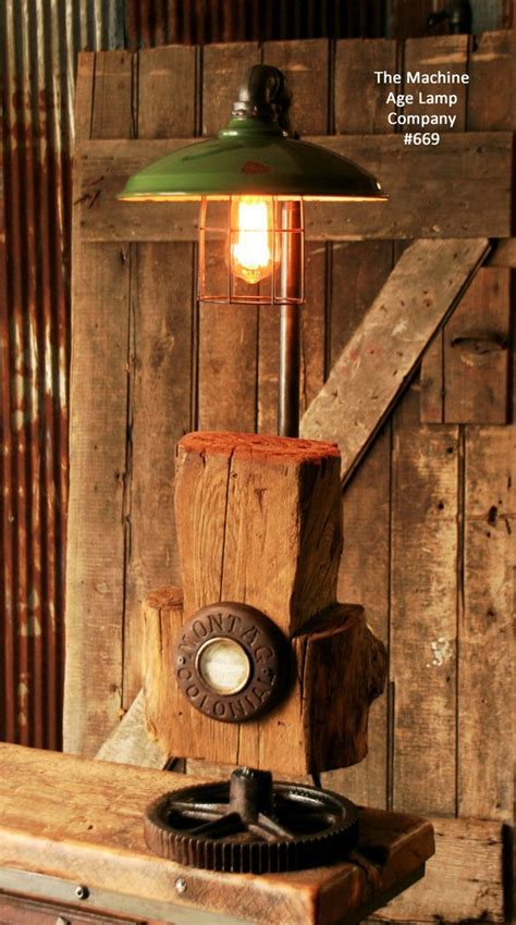 Steampunk Industrial Vintage Cabin Wood and Gear Lamp