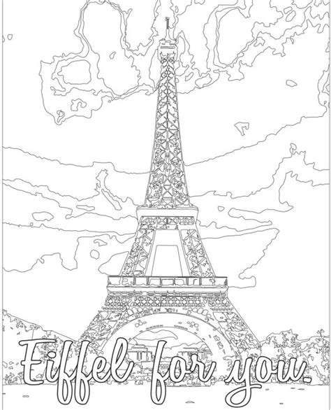 coloring book pages paris adult coloring page color therapy digital download eiffel