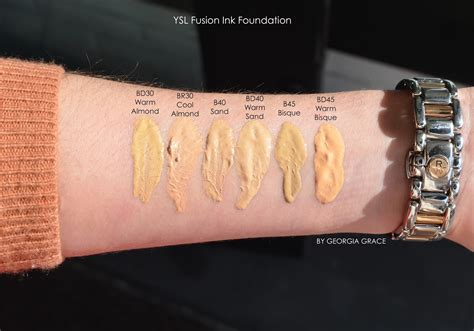 Ysl All Hours Matte Foundation Bd45 Warm Bisque ysl fusion ink foundation spf 18 swatches review photos by grace
