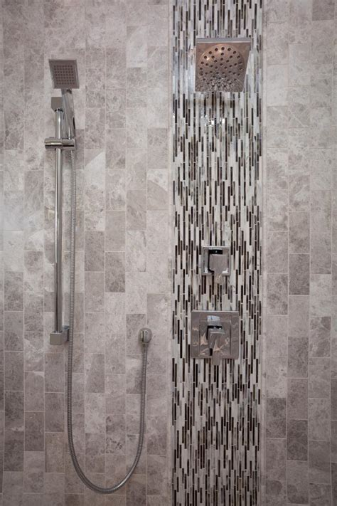 monochromatic gray mosaic subway tiles shower space wall photo page hgtv