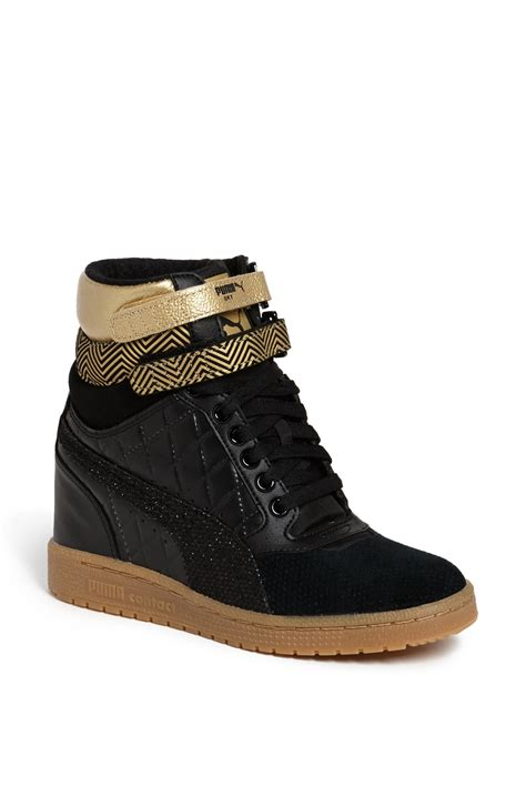 wedge sneakers sky wedge sneaker in gold black gold lyst