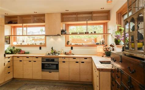 Small Kitchen With Plywood Cabinets And Oak Countertops