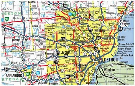Printable Detroit Area Map | city of detroit downtown map free printable maps