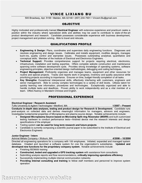 career objective for experienced engineer resume objective exles electrician apprentice resume