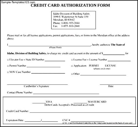 Credit Slip Template Sle Credit Card Authorization Form Sle Templates
