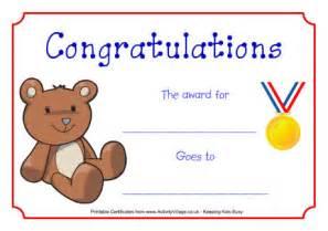 teddy medal certificate