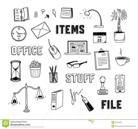 item doodle draw office and business objects doodles set stock vector