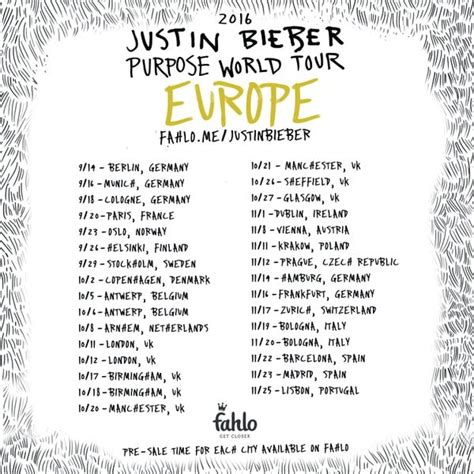 Purpose Tour 2016 justin bieber purpose tour dates for europe 2016