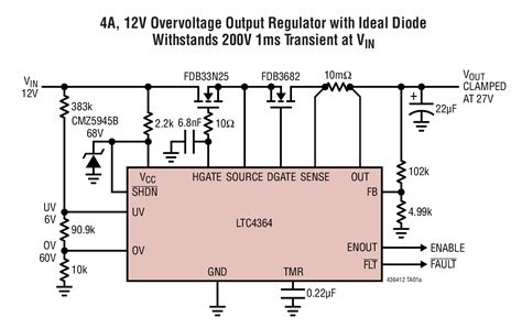 high voltage ideal diode controller solutions ltc4364 1 4a 12v overvoltage output regulator with ideal diode withstands 200v 1ms