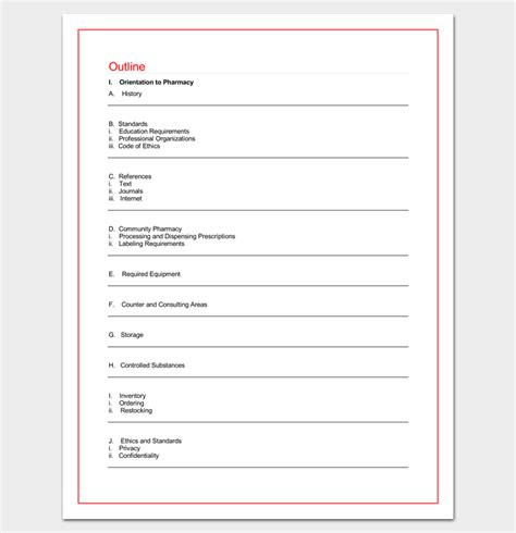Pharmacy Course by Pharmacy Technician Course Outline 4 Outlines For Word