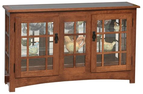 mission style curio cabinet mission style large console curio cabinet from