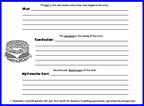 parts of a book report cheeseburger book report projects templates printable