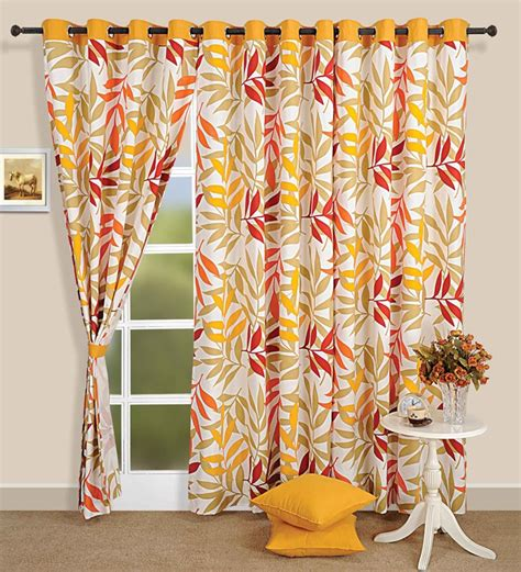 yellow printed curtains swayam white n yellow printed eyelet window curtain with