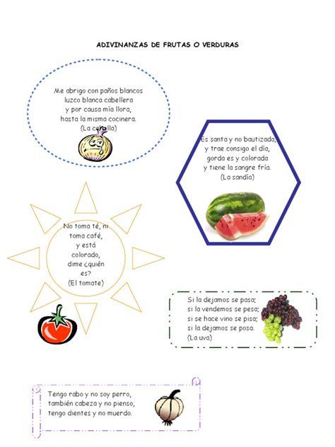 rimas con frutas adivinanzas de frutas o verduras