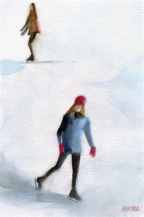 two skating watercolor painting painting by
