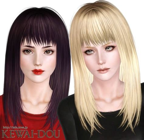 long hair with bangs sims2 smooth and shiny with bangs hairstyle cecile k long by