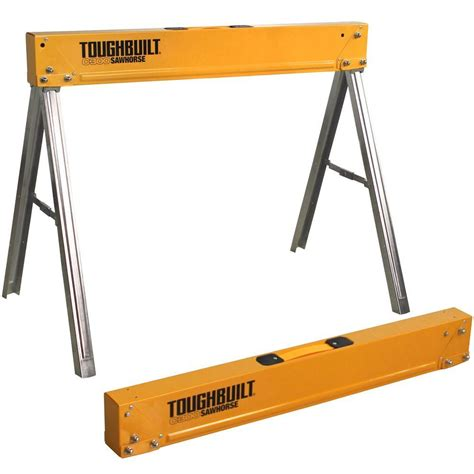 hdx 1 compartment folding steel sawhorse sh106 the home