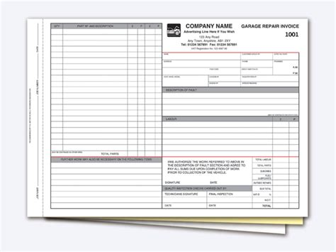 garage receipt template garage invoice template rabitah net