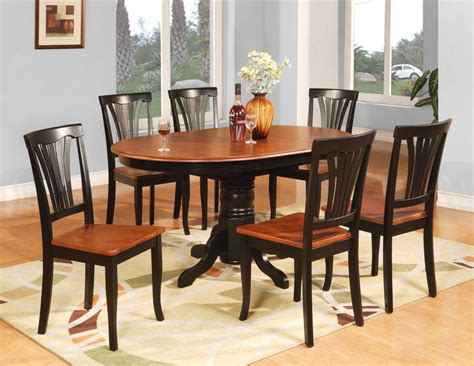 Kitchen Table Black 7pc Avon Oval Kitchen Dining Table W 6 Wood Seat Chairs In Black Cherry Ebay